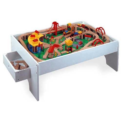 145-Piece Wood Train Set with Activity Table