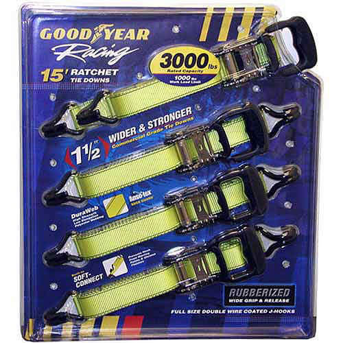 Goodyear Racing Ratchet Tie Downs  4/15 ft. pack