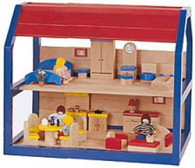 Blue Doll House w/Furniture